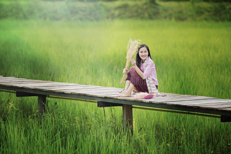 A mulher bonita do Lao que senta-se apenas com decora a flor na ponte de madeira no campo verde do arroz fotografia de stock royalty free