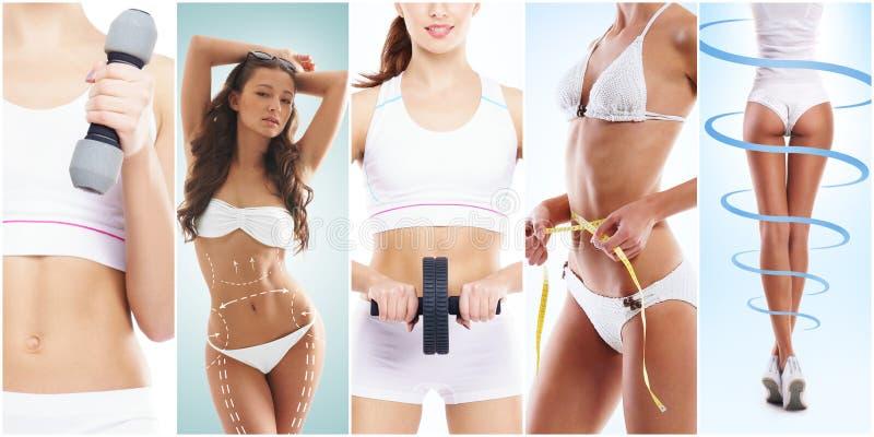 Mulher bonita e apta em um exercício da aptidão collage Conceito da perda do esporte, da nutrição, da saúde e de peso foto de stock