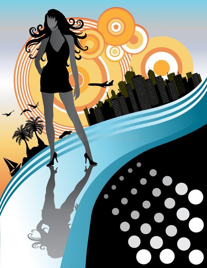 Mulher bonita em férias da cidade ilustração do vetor