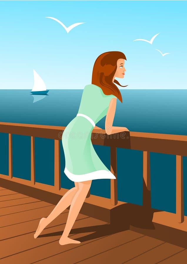 Mulher bonita em um beira-mar ilustração do vetor
