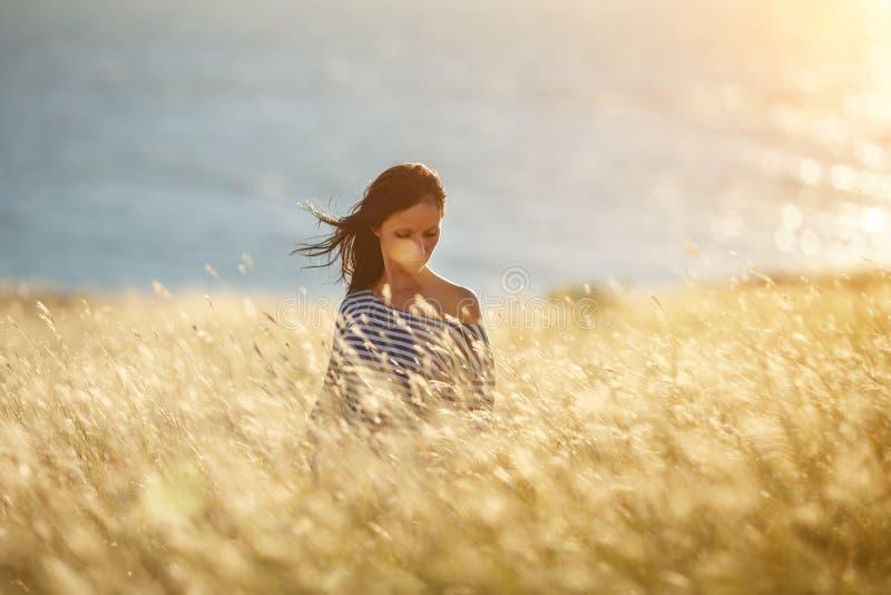 Mulher bonita em um campo com grama dourada imagens de stock
