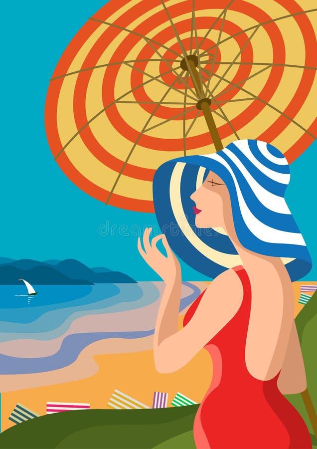 Mulher bonita em um chapéu largo-brimmed em uma praia tropical A costa do lago, as montanhas Feriado no Riviera francês, Liguria ilustração do vetor