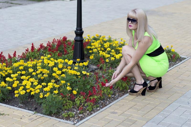 A mulher bonita em um vestido do cal considera uma cama de flor imagens de stock royalty free