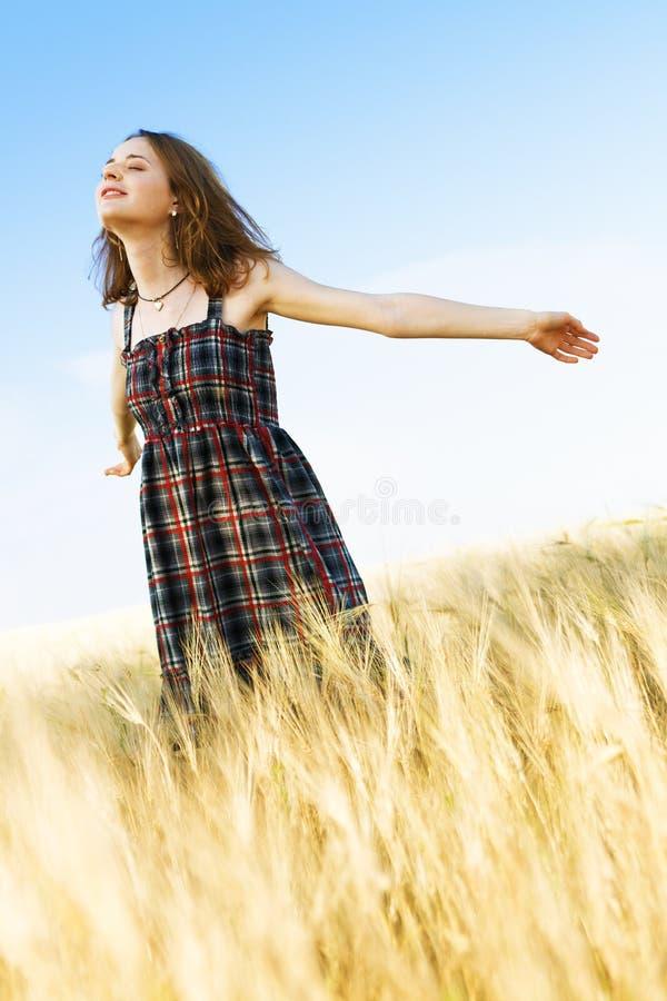 Mulher bonita em vestido checkered em um campo fotografia de stock royalty free