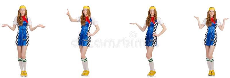 Mulher bonita em vestido checkered imagem de stock royalty free
