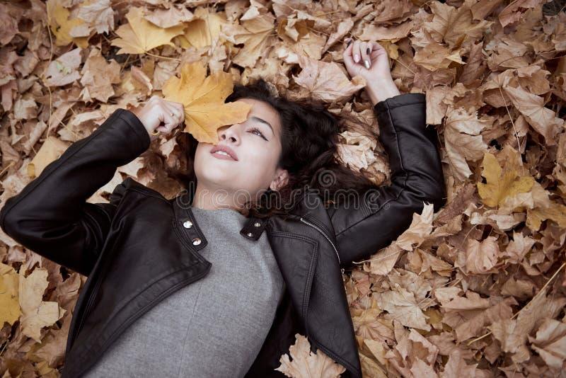 A mulher bonita está encontrando-se no parque do outono nas folhas caídas Paisagem bonita no outono imagens de stock royalty free