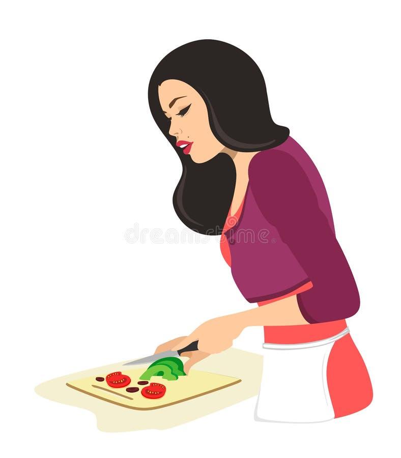 A mulher bonita est? cozinhando Cortes da mulher com os vegetais de uma faca Ilustra??o do vetor no fundo branco Dona de casa ilustração do vetor