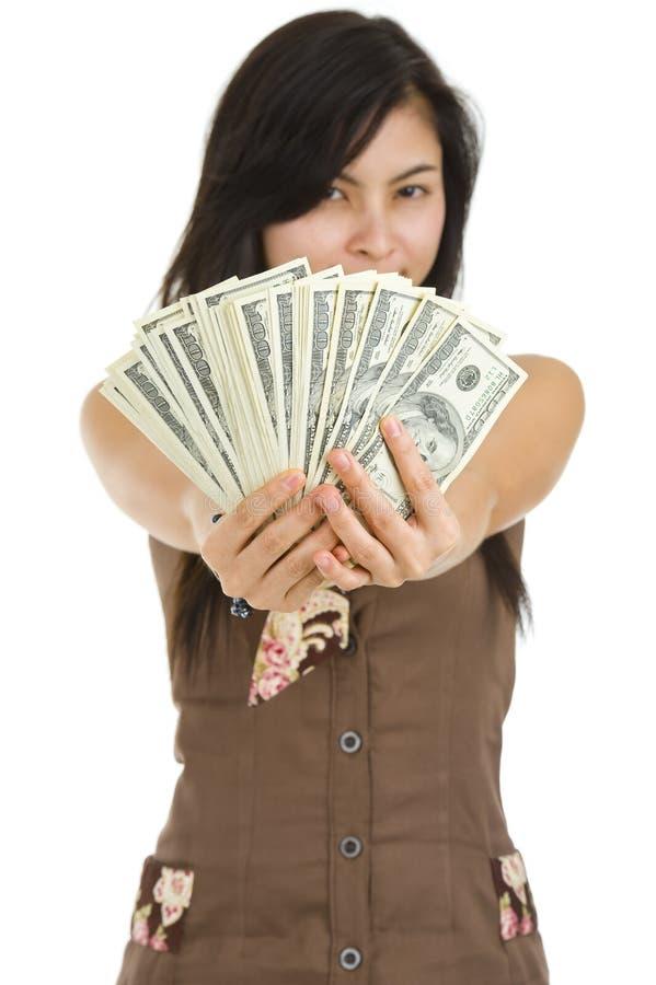 Mulher bonita feliz com lotes do dinheiro fotografia de stock