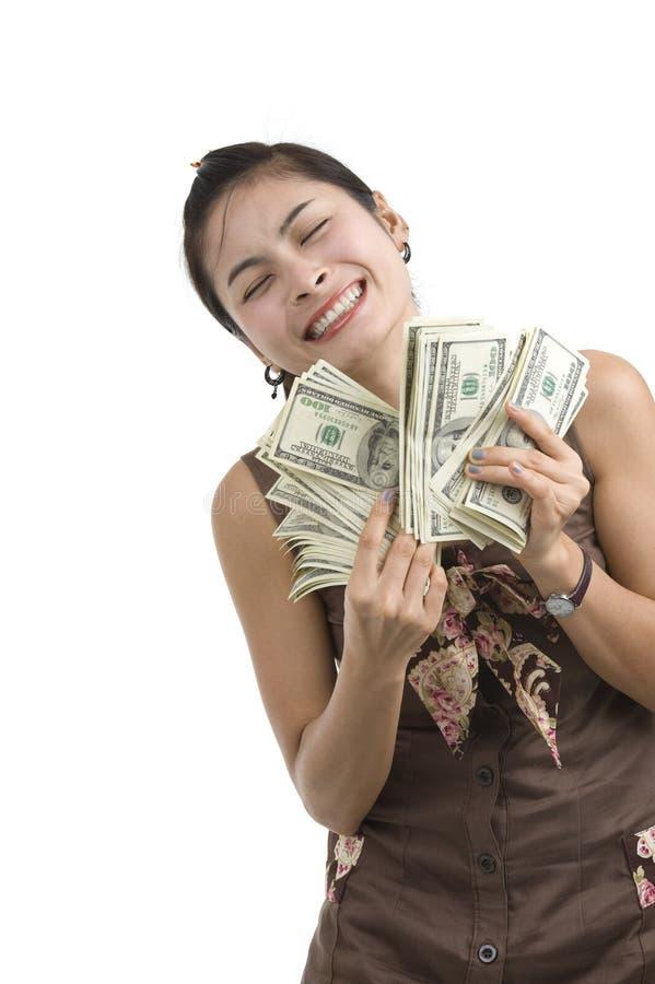 Mulher bonita feliz com lotes do dinheiro imagens de stock