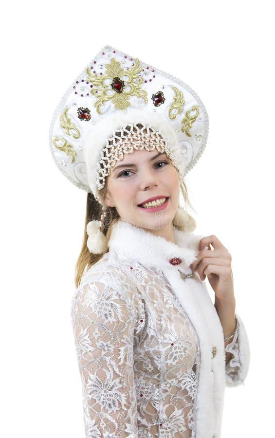 Mulher bonita, feliz com o cabelo longo, vestido como o sorriso de Santa Claus Natal - carnaval do ano novo imagem de stock