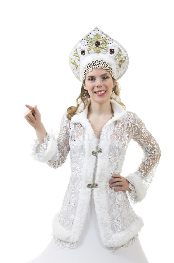 Mulher bonita, feliz com o cabelo longo, vestido como o sorriso de Santa Claus Natal - carnaval do ano novo fotos de stock royalty free