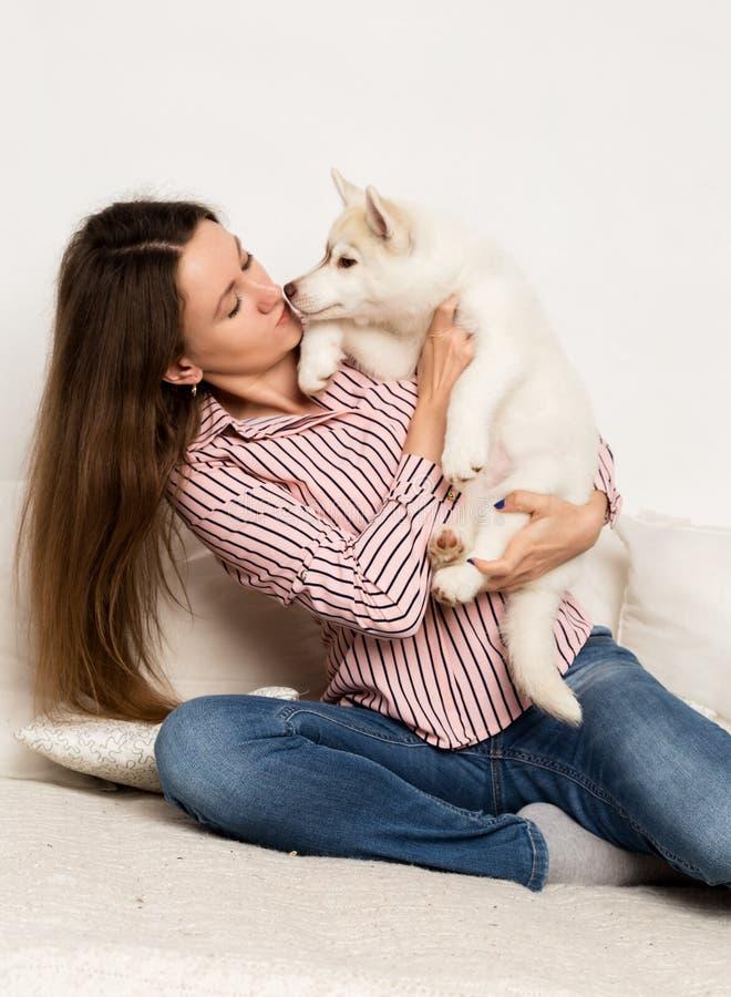 Mulher bonita feliz que abraça o cão de puxar trenós do cachorrinho a menina que senta-se em um sofá e em um cachorrinho lambe-a imagem de stock