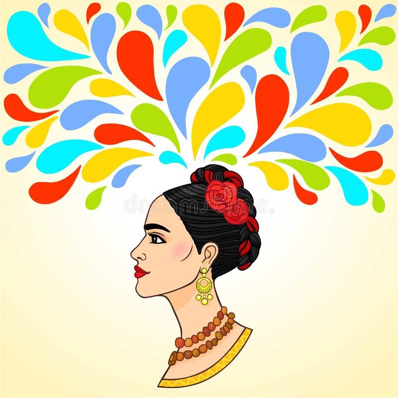 Mulher bonita: imaginação ilustração do vetor