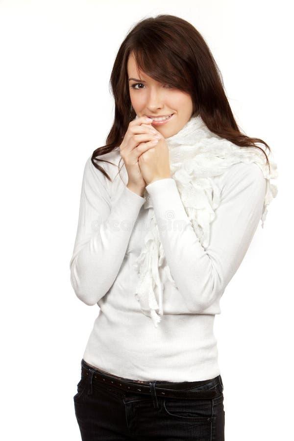 Mulher bonita isolada no fundo branco imagens de stock royalty free