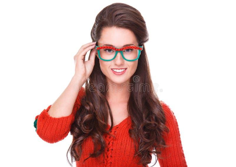 Mulher bonita na camisola vermelha foto de stock royalty free