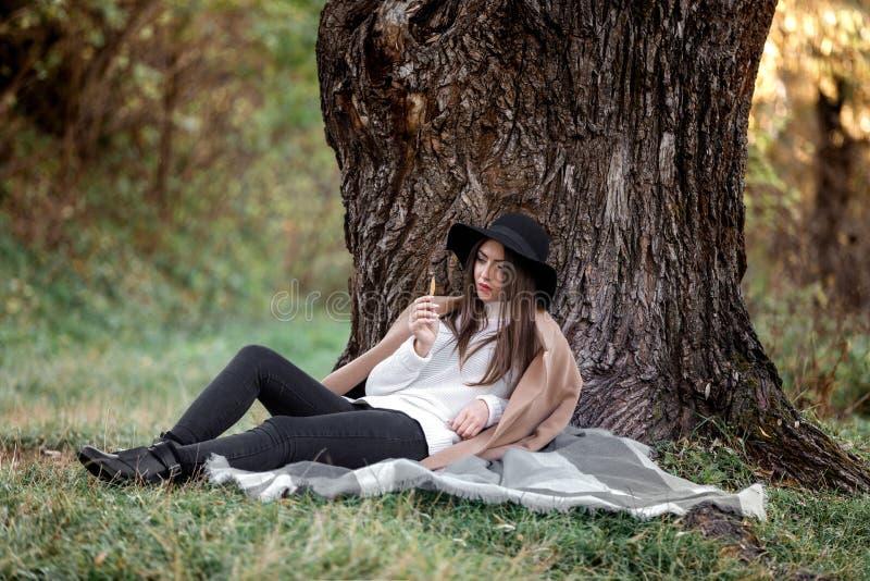 Mulher bonita no chapéu negro que senta-se sob a árvore grande fotos de stock