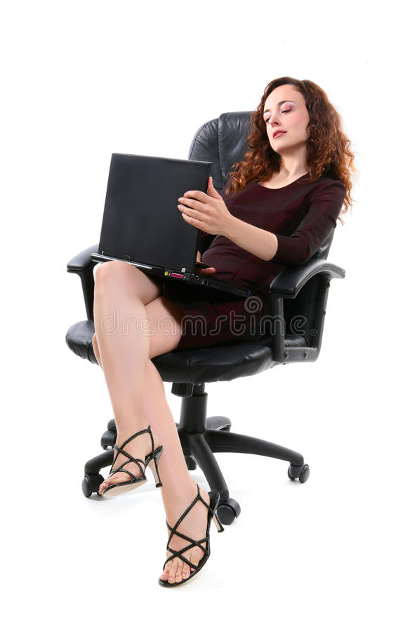 Mulher bonita no computador fotos de stock