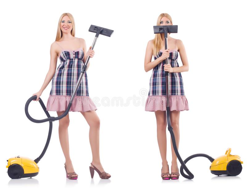 A mulher bonita no conceito housecleaning imagem de stock