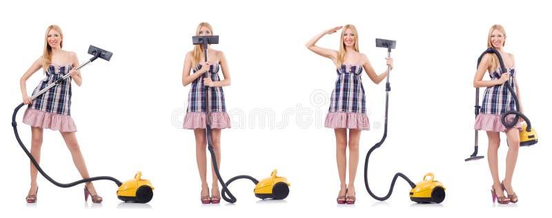A mulher bonita no conceito housecleaning imagens de stock