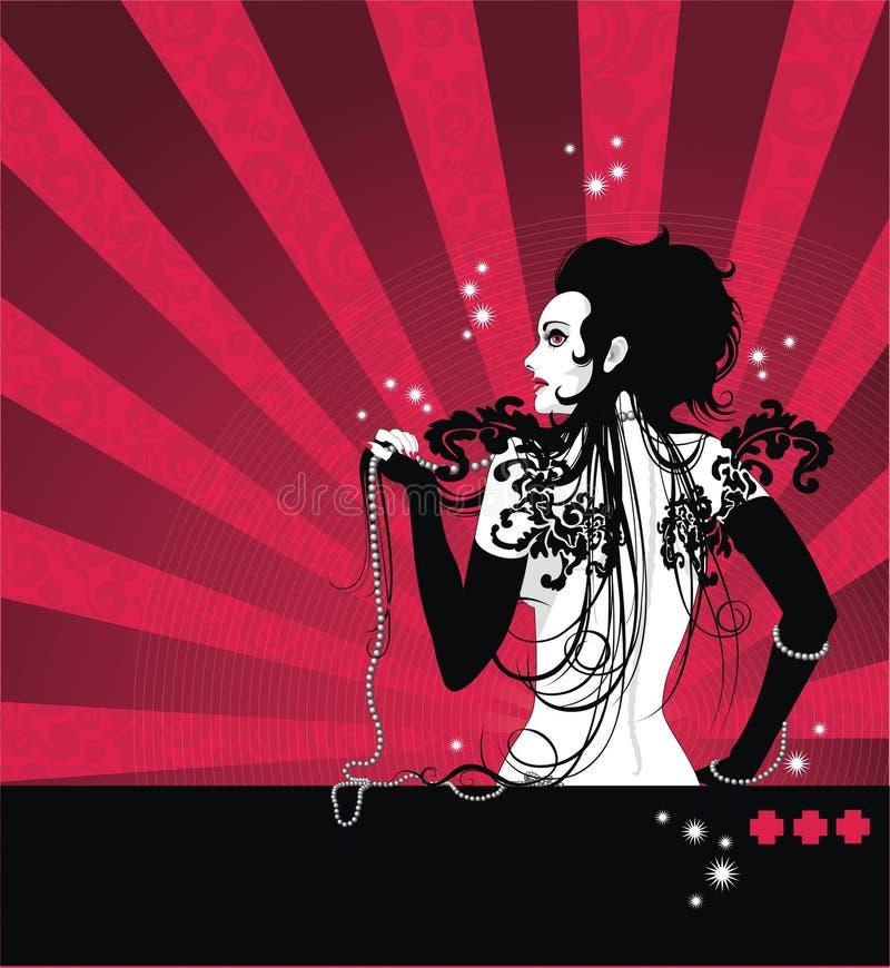 Mulher bonita no fundo vermelho ilustração stock