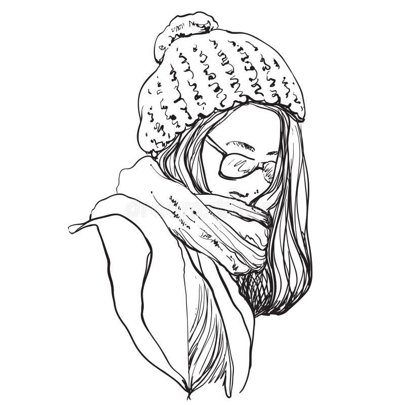 Mulher bonita no lenço e no chapéu do inverno Ilustração da forma ilustração royalty free