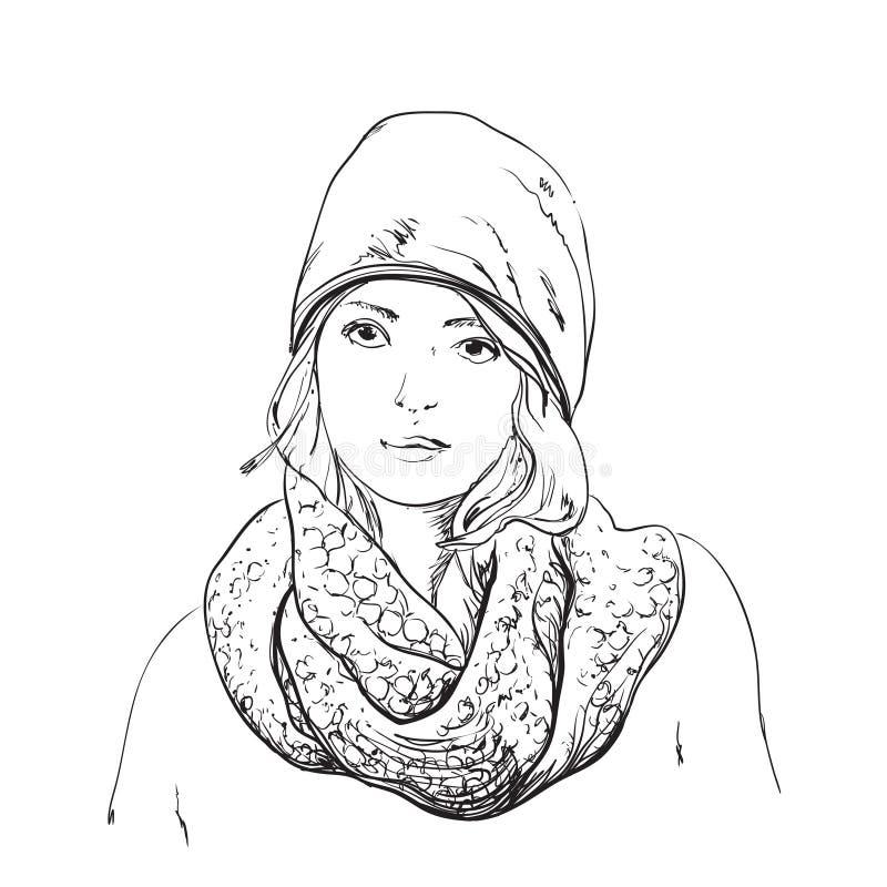Mulher bonita no lenço e no chapéu do inverno Ilustração da forma ilustração do vetor