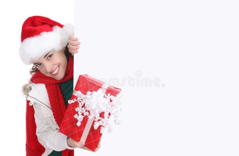 Mulher bonita no Natal foto de stock