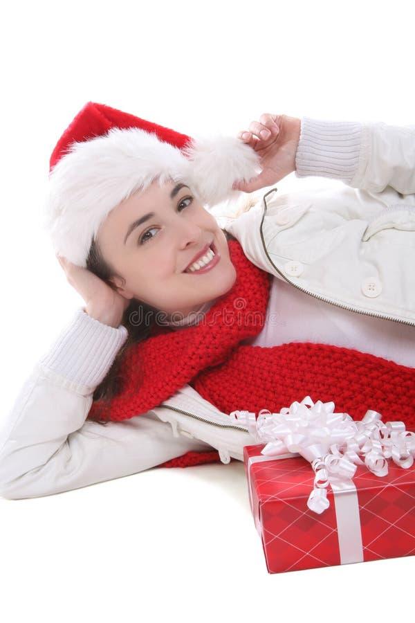 Mulher bonita no Natal imagem de stock royalty free