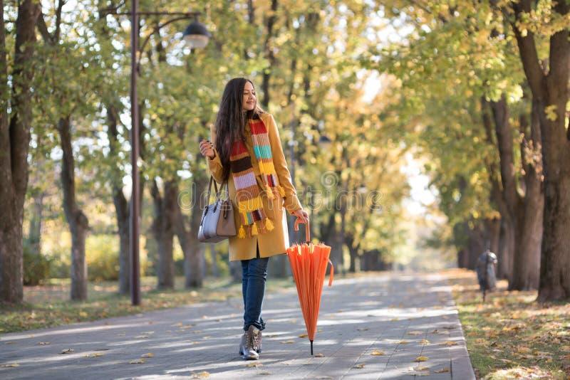 Mulher bonita no parque do outono fotos de stock royalty free