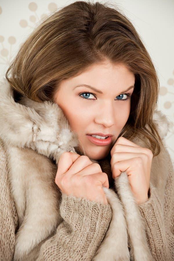 Download A Mulher Bonita No Revestimento Do Inverno Sente O Frio Foto de Stock - Imagem de olhos, comprimido: 12803196