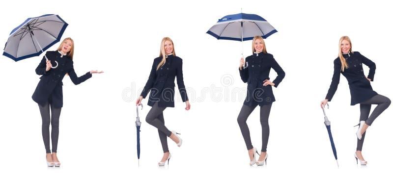 A mulher bonita no revestimento preto com um guarda-chuva fotografia de stock