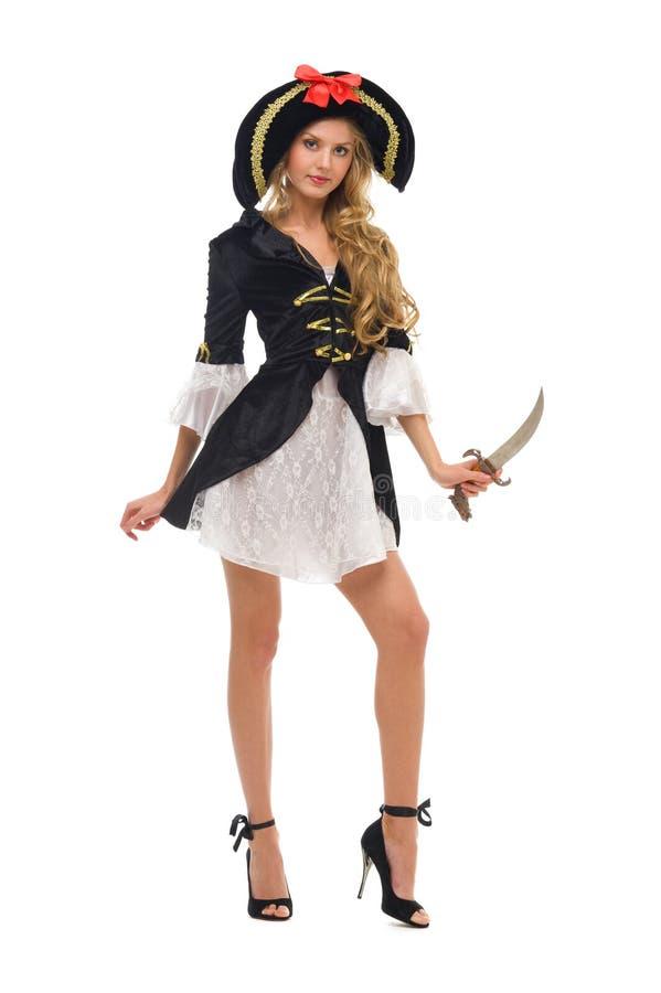 Mulher bonita no traje do carnaval. Forma do pirata imagem de stock