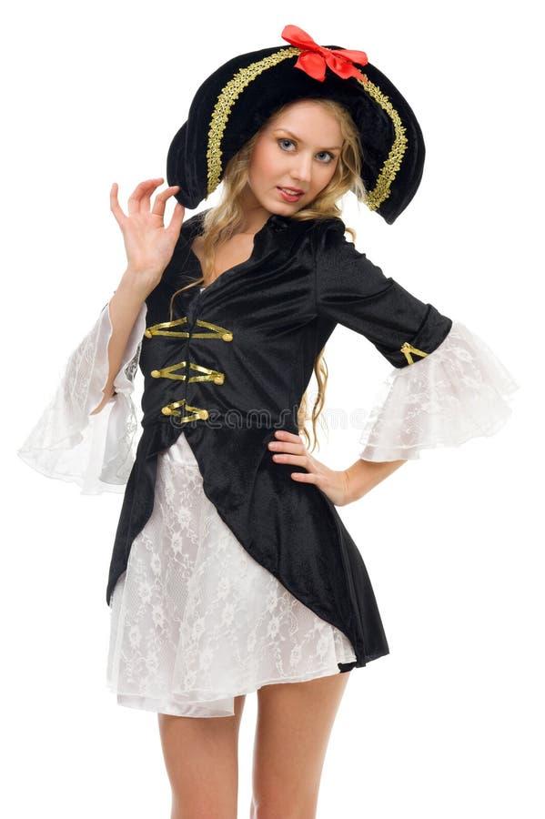 Mulher bonita no traje do carnaval. Forma do pirata fotos de stock royalty free