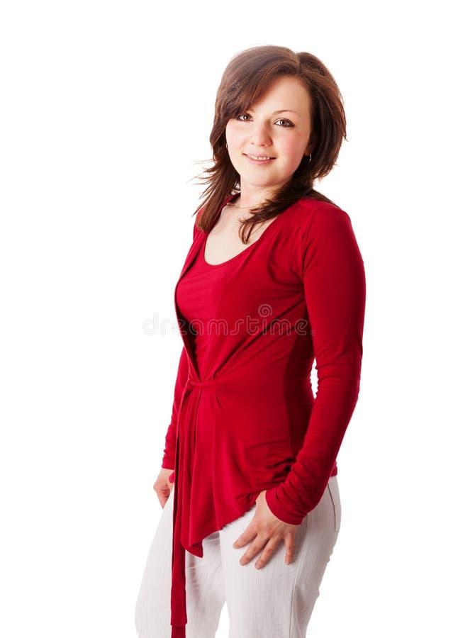 Mulher bonita no vermelho foto de stock