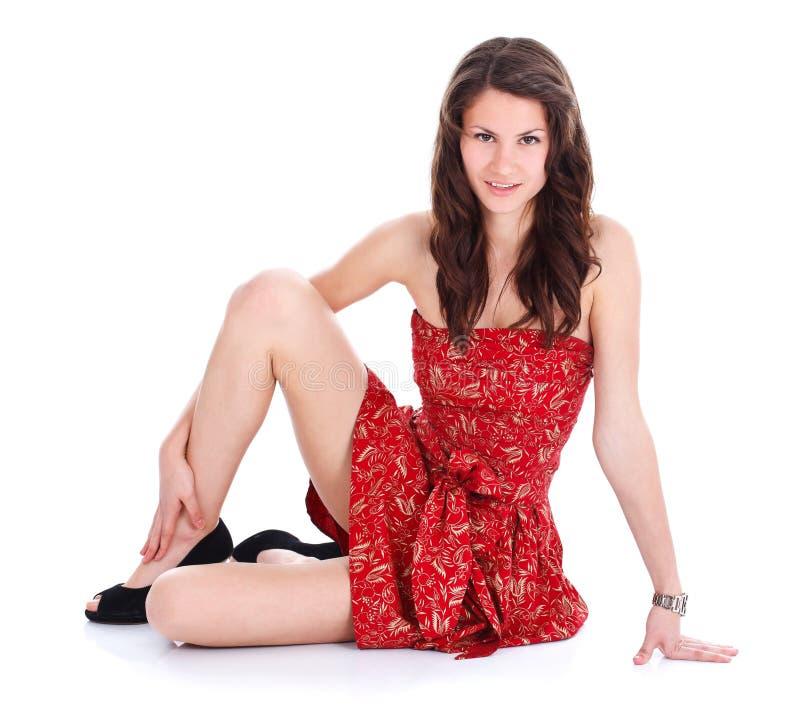 Mulher bonita no vermelho fotos de stock royalty free