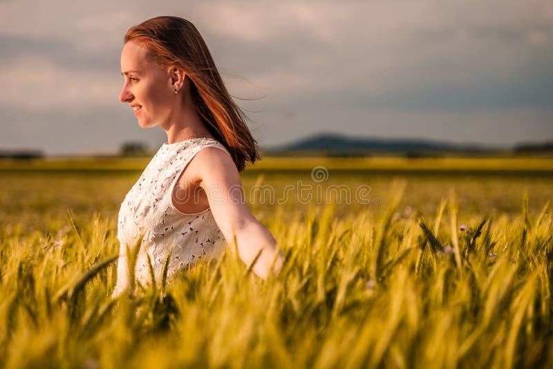 Mulher bonita no vestido branco no campo de trigo amarelo dourado fotografia de stock royalty free