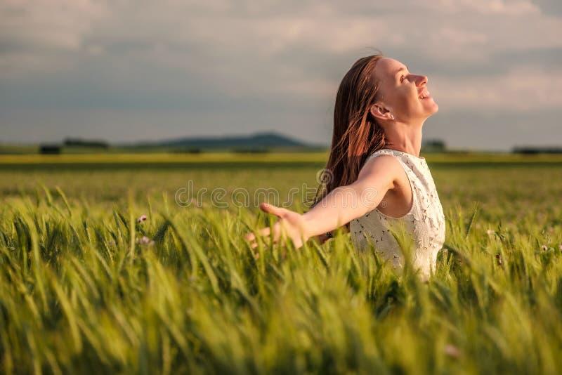 Mulher bonita no vestido branco no campo de trigo verde foto de stock royalty free