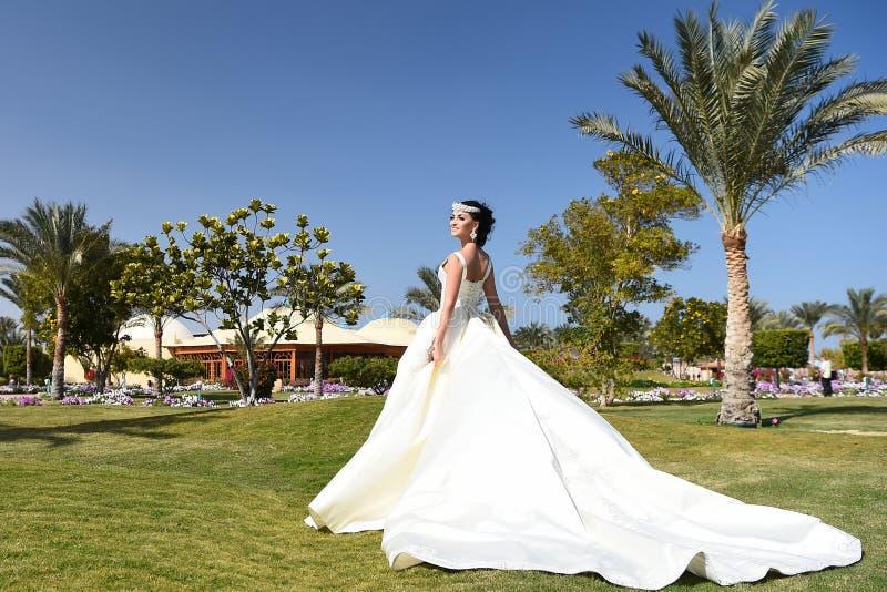 Mulher bonita no vestido de casamento branco, na composição elegante e no cabelo foto de stock royalty free