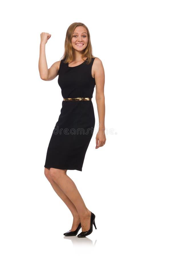 A mulher bonita no vestido preto foto de stock royalty free