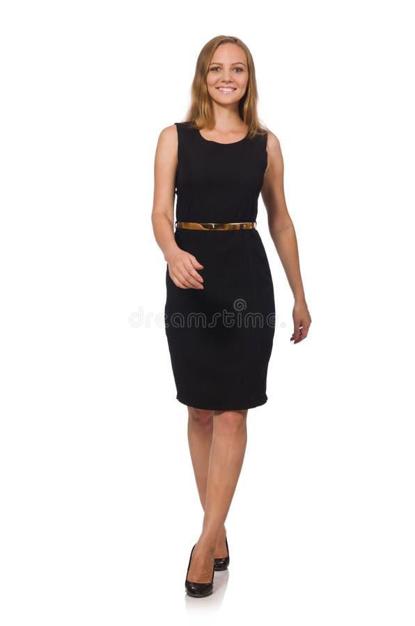 A mulher bonita no vestido preto fotografia de stock royalty free