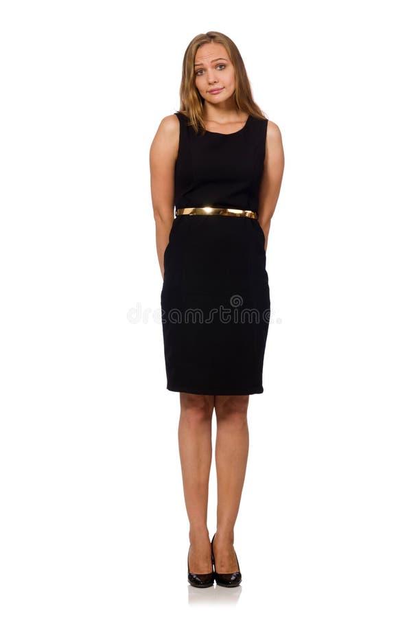 A mulher bonita no vestido preto imagem de stock