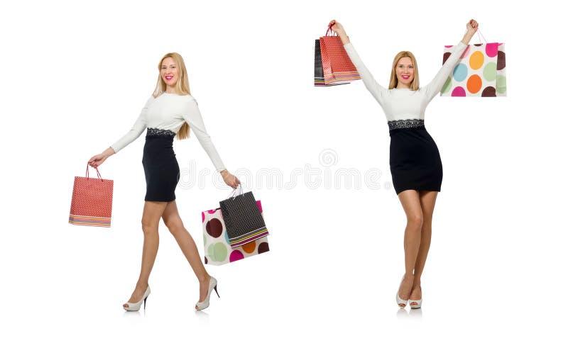 Mulher bonita no vestido preto e branco isolado no branco imagem de stock