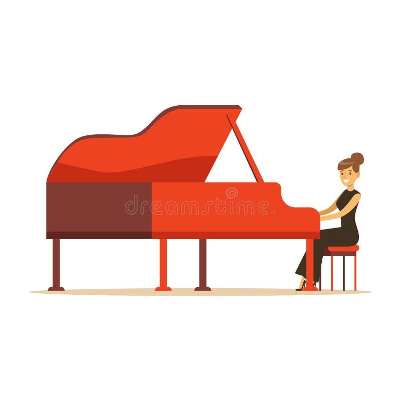 Mulher bonita no vestido preto que joga a ilustração vermelha do vetor do piano de cauda ilustração do vetor