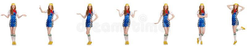 A mulher bonita no vestido quadriculado fotografia de stock
