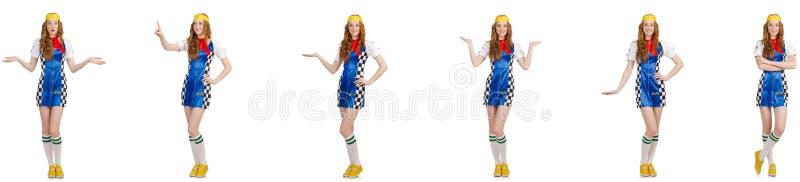 A mulher bonita no vestido quadriculado imagens de stock royalty free