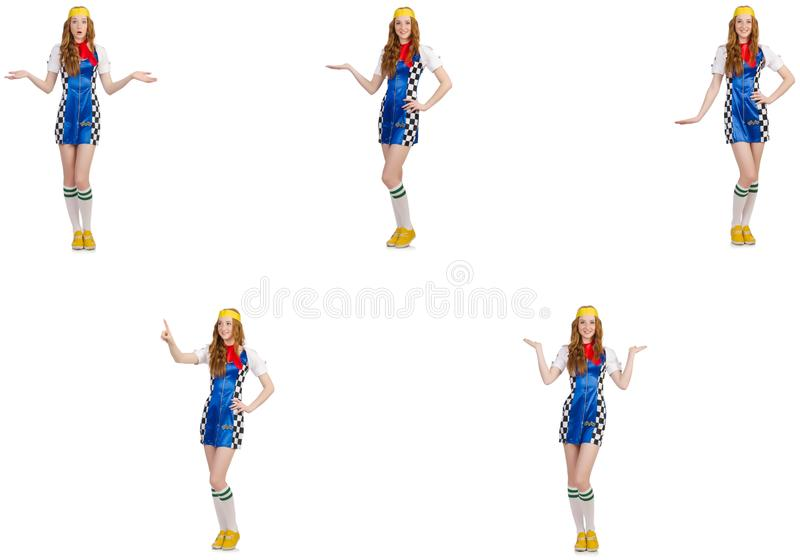 A mulher bonita no vestido quadriculado fotografia de stock royalty free