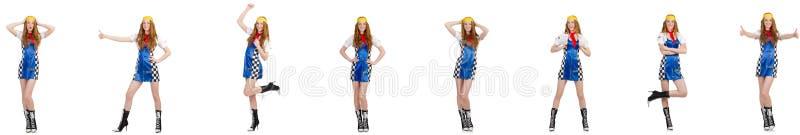 A mulher bonita no vestido quadriculado imagem de stock