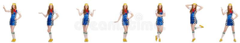 A mulher bonita no vestido quadriculado fotos de stock royalty free