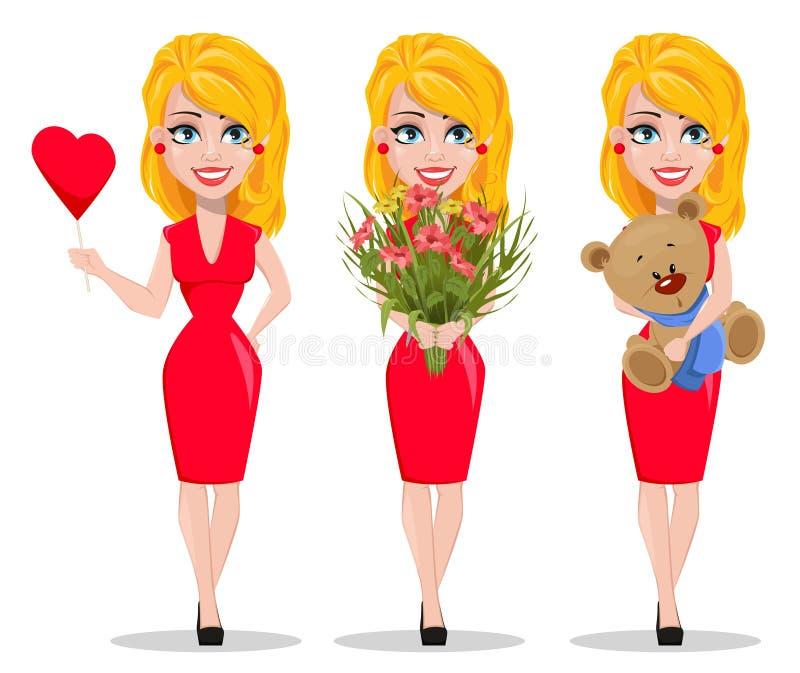 Download Mulher Bonita No Vestido Vermelho, Grupo Ilustração do Vetor - Ilustração de amor, urso: 107528454
