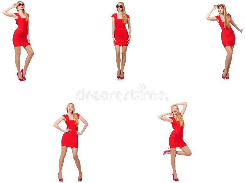 Mulher bonita no vestido vermelho isolado no branco imagens de stock royalty free